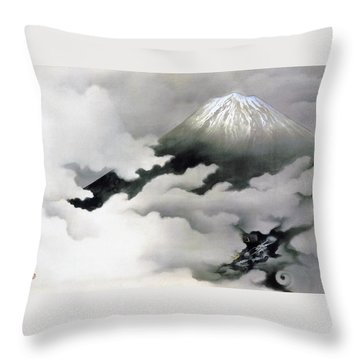 Mount Fuji And Dragon - Ryuodoru -top Quality Image Edition Throw Pillow