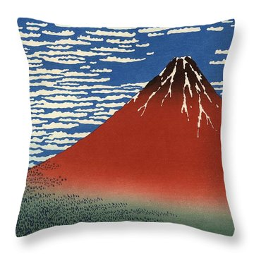 Throw Pillow featuring the photograph Mount Fuji Painting by Top Wallpapers