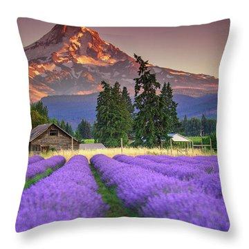 Mount Hood Lavender Field  Throw Pillow