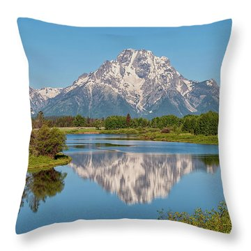 Mount Moran On Snake River Landscape Throw Pillow