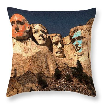 Mount Rushmore Red And Blue Drawing Throw Pillow