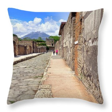 Mount Vesuvius And The Ruins Of Pompeii Italy Throw Pillow