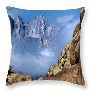 Mount Whitney Clearing Storm Eastern Sierras California Throw Pillow