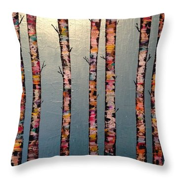 Mountain Birch Trees Throw Pillow