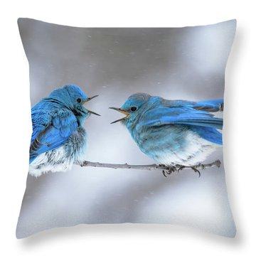 Mountain Bluebirds On A Snowy Day Throw Pillow