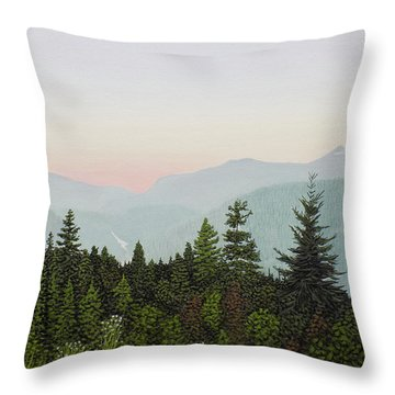 Throw Pillow featuring the painting Mountain Dusk by Kenneth M Kirsch
