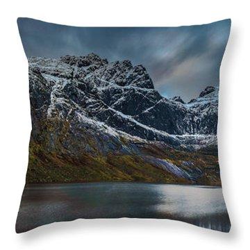 Mountain Lake In Norway On Lofoten Near Nusfjord Throw Pillow
