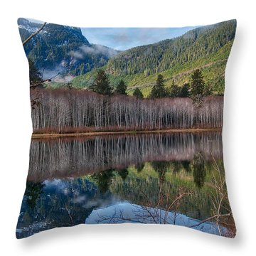 Mountain Lake Reflections Throw Pillow