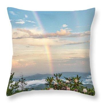 Throw Pillow featuring the photograph Mountain Rainbow Vertical by Ken Barrett