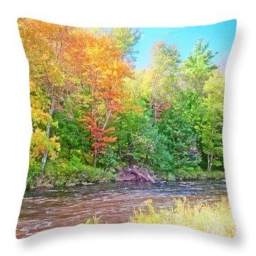 Mountain Stream In Early Autumn Throw Pillow