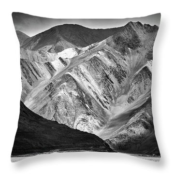 Throw Pillow featuring the photograph Mountains At Pangong by Whitney Goodey