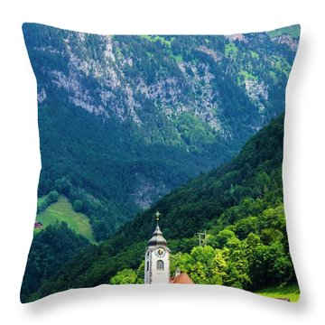Mountainside Church Throw Pillow