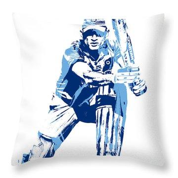 Ms Dhoni International Cricket Player Pixel Art 1 Throw Pillow