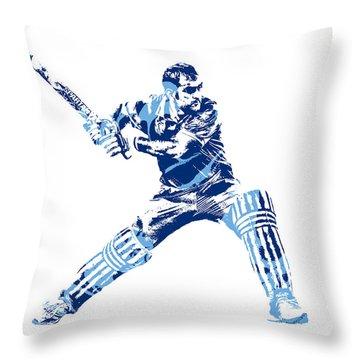 Ms Dhoni International Cricket Player Pixel Art 2 Throw Pillow