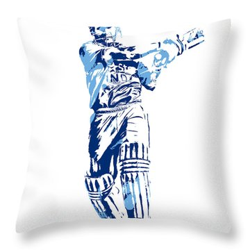 Ms Dhoni International Cricket Player Pixel Art 3 Throw Pillow