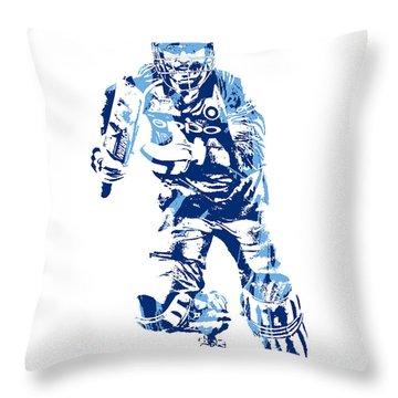 Ms Dhoni International Cricket Player Pixel Art 4 Throw Pillow