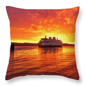 Mukilteo Ferry Sunset Skies Reflection Throw Pillow