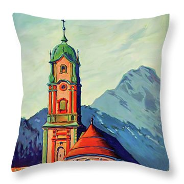 Munich And Bavarian Alps Throw Pillow