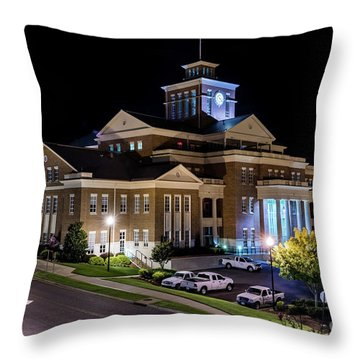 Municipal Center At Night - North Augusta Sc Throw Pillow