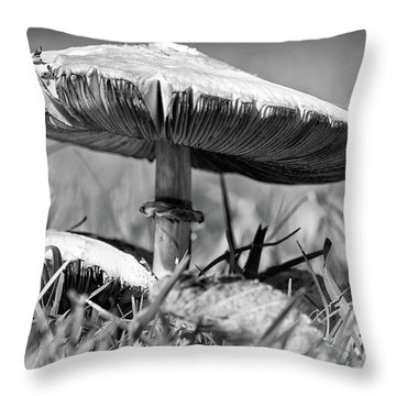 Mushroom In Black And White Throw Pillow