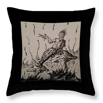 Throw Pillow featuring the painting Mushroom Man by Aaron Bombalicki