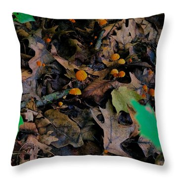 Throw Pillow featuring the photograph Mushrooms And Leaf Litter by Lukas Miller