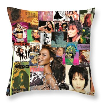 Music Ladies Collage 1 Throw Pillow