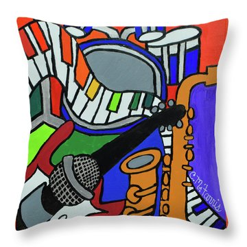 Music Vibes Throw Pillow