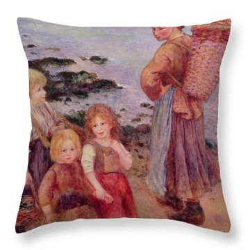 Mussel Fishers At Berneval, 1879 Throw Pillow