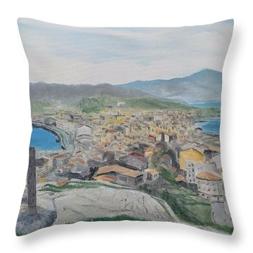 Throw Pillow featuring the painting Muxia by Kevin Daly
