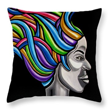 Colorful 3d Abstract Painting, Black Woman, Colorful Hair Art Artwork - African Goddess Throw Pillow