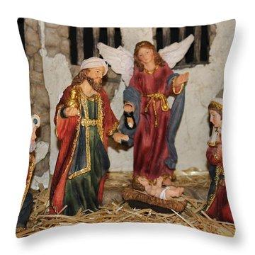My German Traditions - Christmas Nativity Scene Throw Pillow