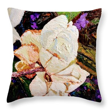 Throw Pillow featuring the painting My Impasto Flowers by Ray Khalife