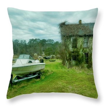 Throw Pillow featuring the photograph Auntie's Old House by Joan Reese
