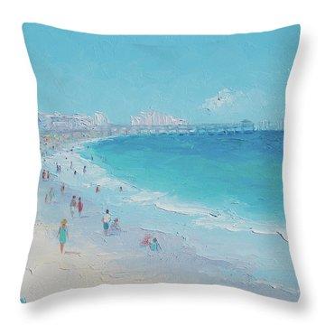 Myrtle Beach And Springmaid Pier Throw Pillow