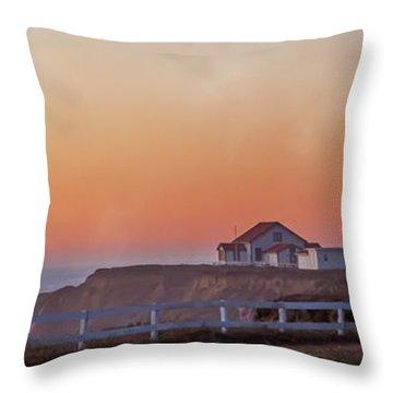 Mysterious Point Arena Lighthouse California  Throw Pillow
