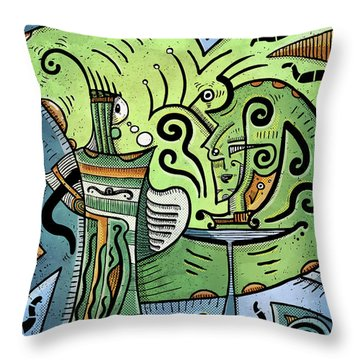 Throw Pillow featuring the painting Mystical Powers by Sotuland Art