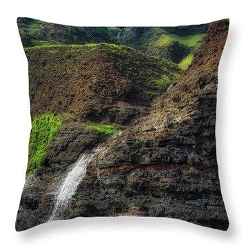 Na Pali Coast Waterfall Throw Pillow