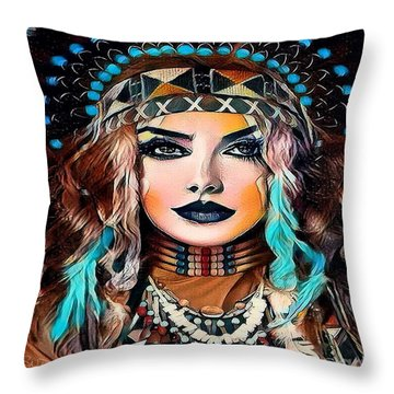 Nahimana The Sioux Indian Throw Pillow