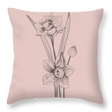 Narcissus Blush Pink Flower Throw Pillow