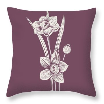 Narcissus Purple Flower Throw Pillow