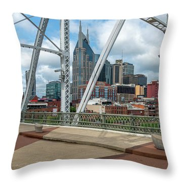 Nashville Cityscape From The Bridge Throw Pillow