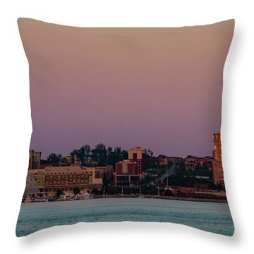 Throw Pillow featuring the photograph National Harbor Reflecting The Sunset by Lora J Wilson