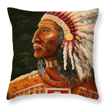 Native American Indian Chief Throw Pillow
