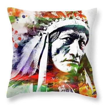Native American Indian Watercolor 5 Throw Pillow