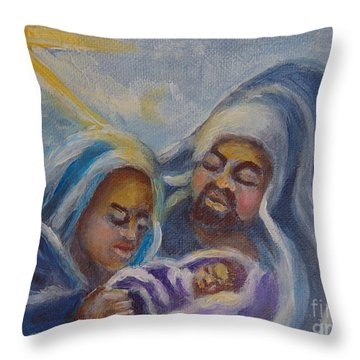 Throw Pillow featuring the painting Nativity by Saundra Johnson