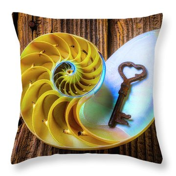 Nautilus Shell And Old Key Throw Pillow