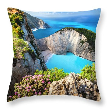Navagio Bay Throw Pillow