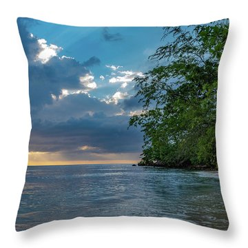 Negril Beach Sunburst At Sunset Throw Pillow