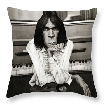 Neil Young Piano Throw Pillow